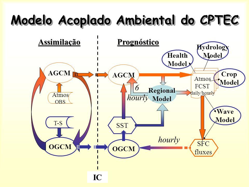 Modelo Acoplado Ambiental do CPTEC 6 hourly Regional Model Hydrology Model Crop Model Health Model Assimilação AGCM OGCM Atmos OBS T-S IC Prognóstico Atmos FCST daily/hourly SFC fluxes SST OGCM AGCM hourly Wave Model