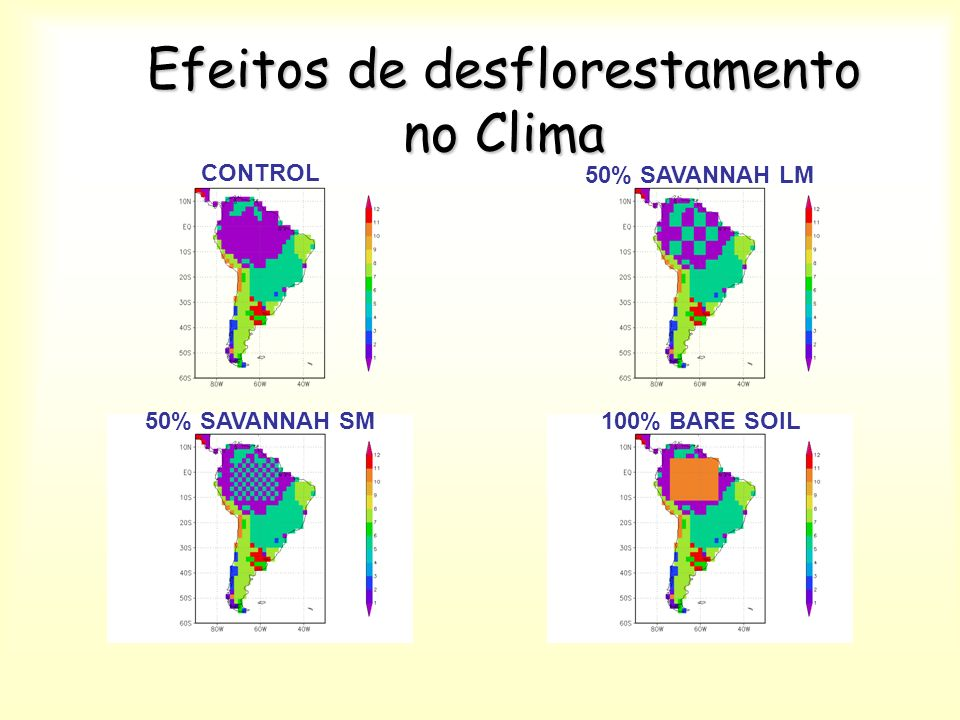 Efeitos de desflorestamento no Clima CONTROL 100% BARE SOIL50% SAVANNAH SM 50% SAVANNAH LM