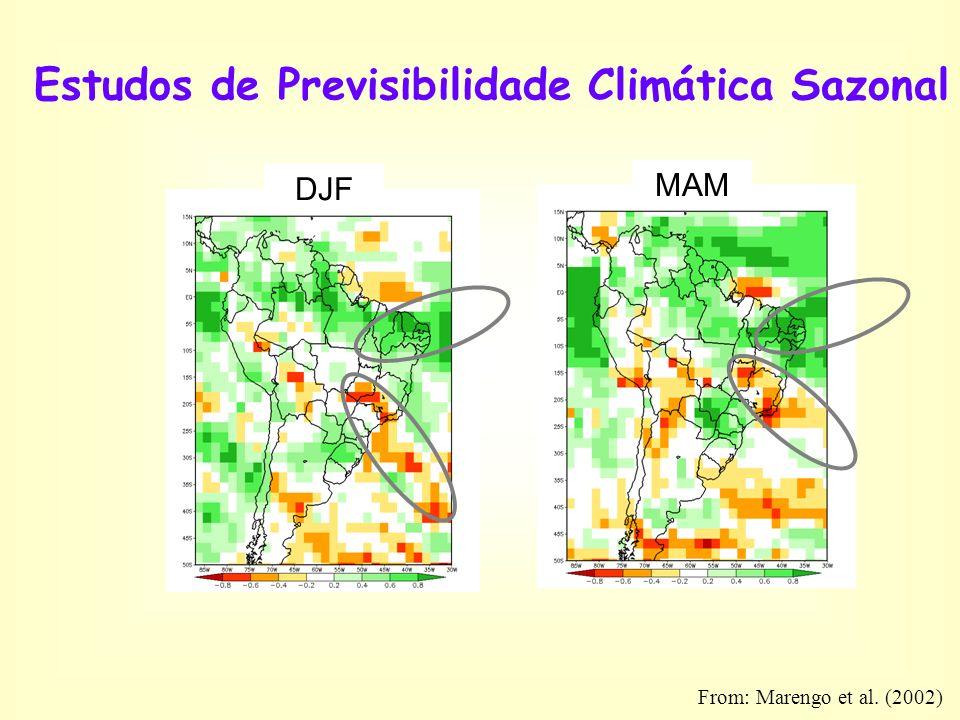 Estudos de Previsibilidade Climática Sazonal DJF MAM From: Marengo et al. (2002)