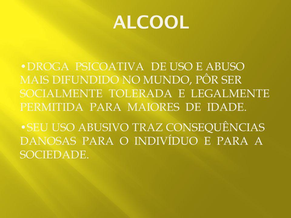 O álcool está associado à maioria dos acidentes de trânsito no Brasil e no mundo. Entre 65 a 70% dos casos de violência contra a mulher estão relacion