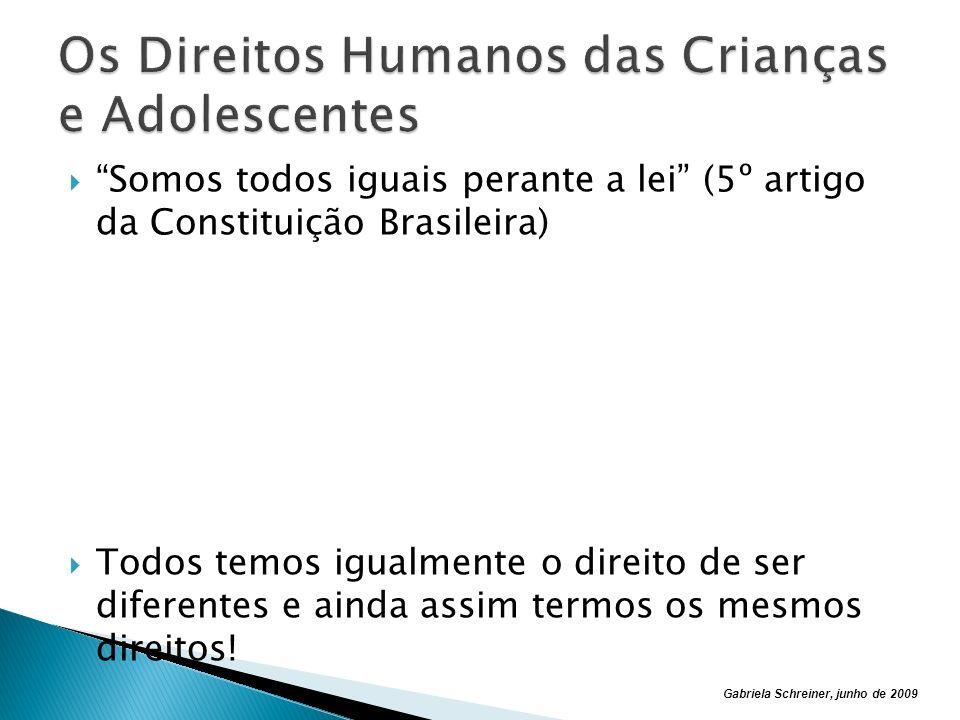 Gabriela Schreiner, junho de 2009 Somos todos iguais perante a lei (5º artigo da Constituição Brasileira) Todos temos igualmente o direito de ser diferentes e ainda assim termos os mesmos direitos!