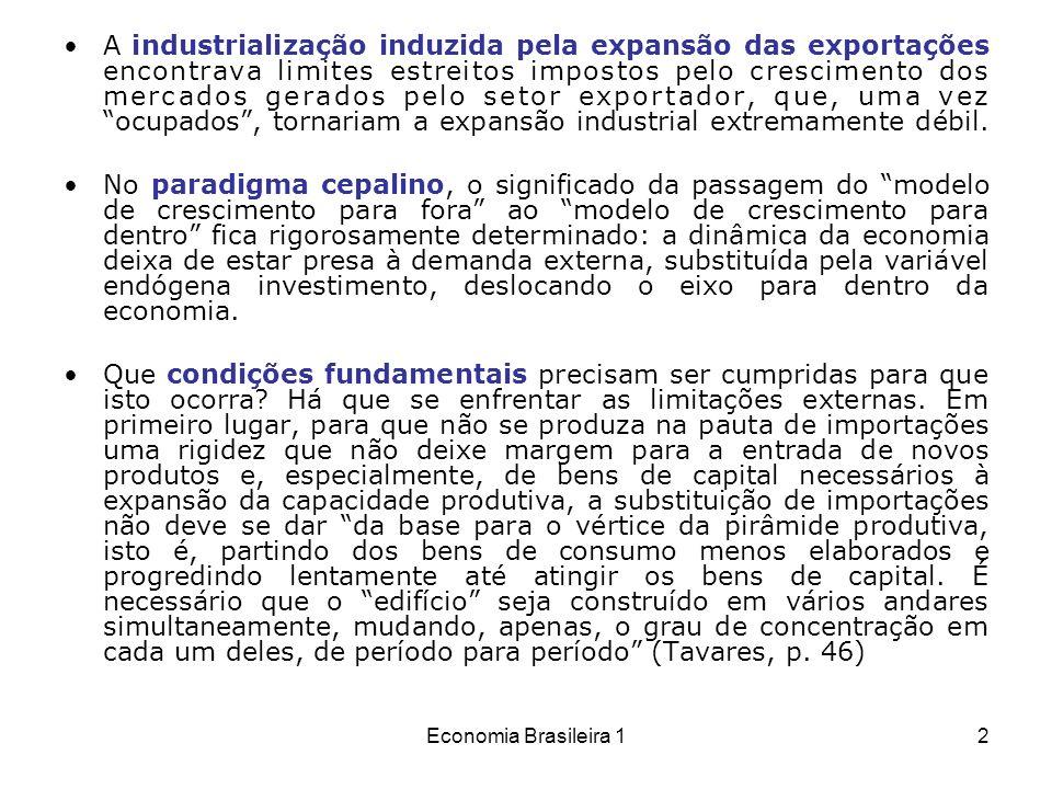 Economia Brasileira 13 Nem todos os investimentos podem, portanto, ser induzidos pela procura preexistente, mas é preciso que alguns antecipem a demanda, especialmente os investimentos de base, o que exige a presença ativa do Estado, uma vez que não se crê muito nos empresários schumpeterianos.