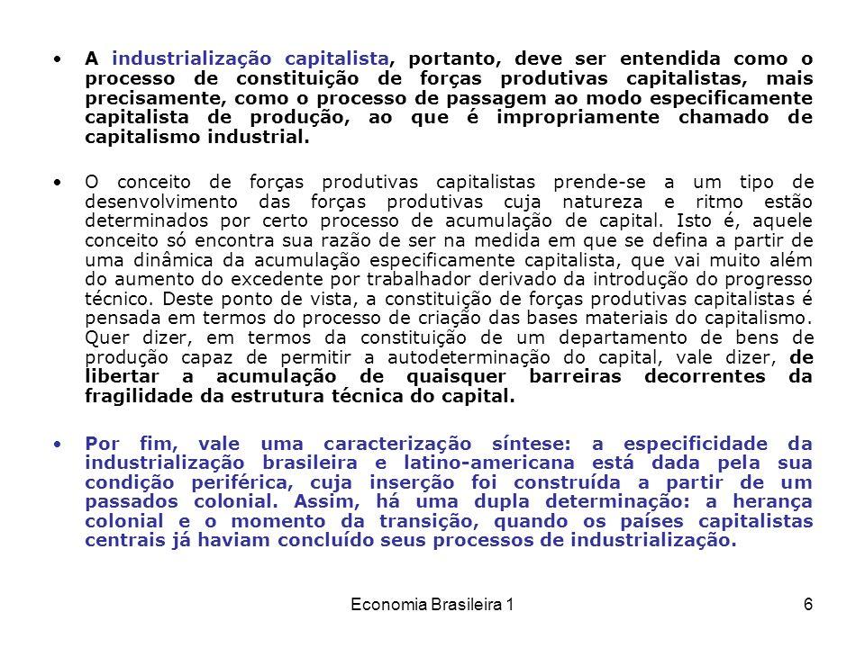 Economia Brasileira 17 (Niemeyer) Este processo de autodeterminação do capital foi objeto de muitas críticas, porque ele está relacionado à criação do departamento produtor de bens de produção, constituído, segundo a análise, pelo esforço acelerador da industrialização realizado pelo Plano de Metas.