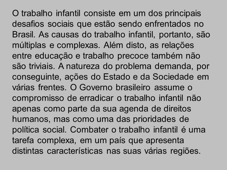 Uma pesquisa realizada pelo IBGE – Instituto Brasileiro de Geografia e Estatísticas, revelou que há 2.607.065 crianças de 05 a 14 anos trabalhando no país.