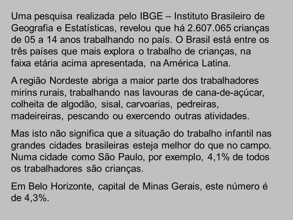 Uma pesquisa realizada pelo IBGE – Instituto Brasileiro de Geografia e Estatísticas, revelou que há 2.607.065 crianças de 05 a 14 anos trabalhando no
