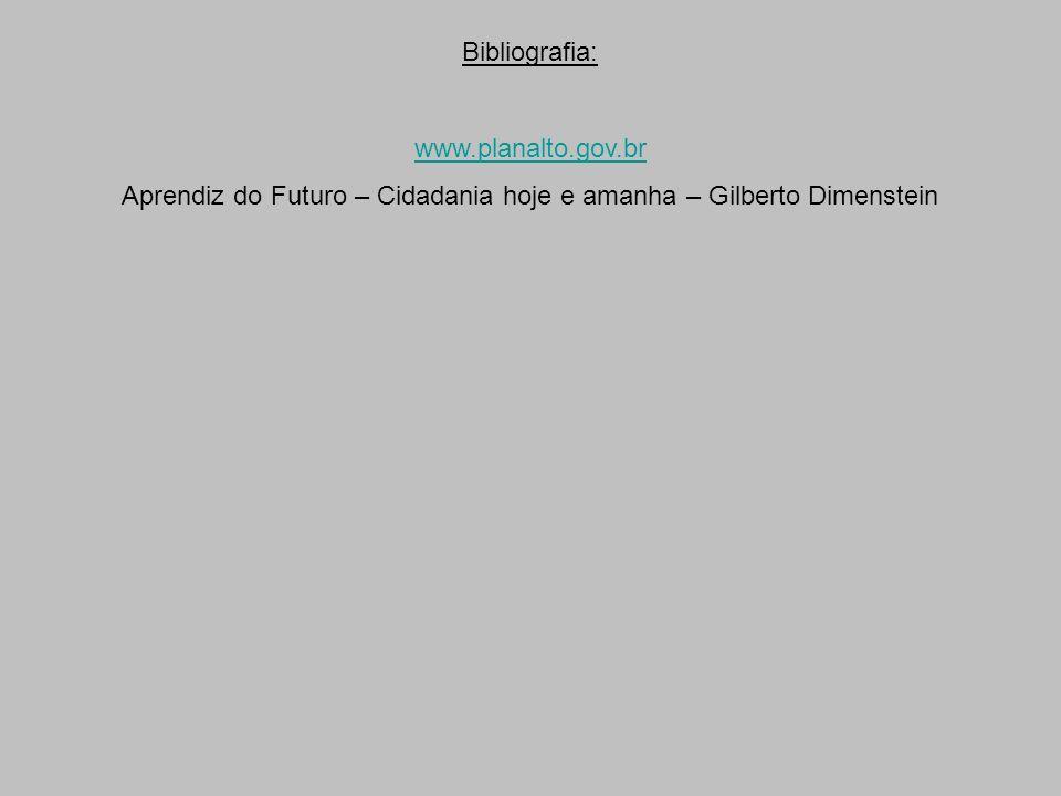 Bibliografia: www.planalto.gov.br Aprendiz do Futuro – Cidadania hoje e amanha – Gilberto Dimenstein