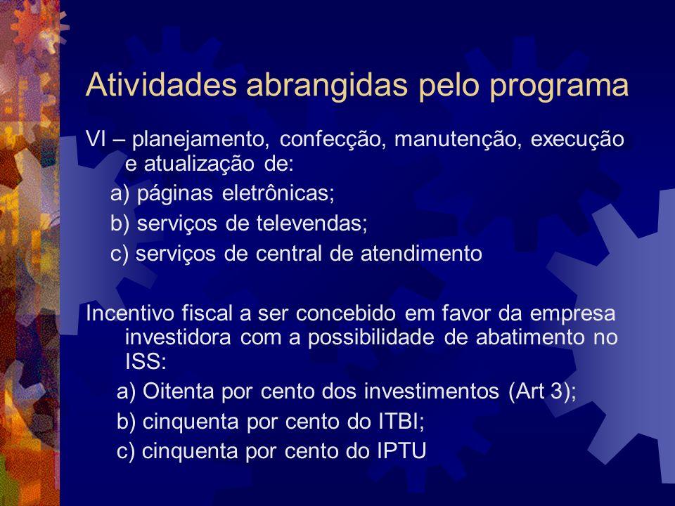 Atividades abrangidas pelo programa VI – planejamento, confecção, manutenção, execução e atualização de: a) páginas eletrônicas; b) serviços de televe