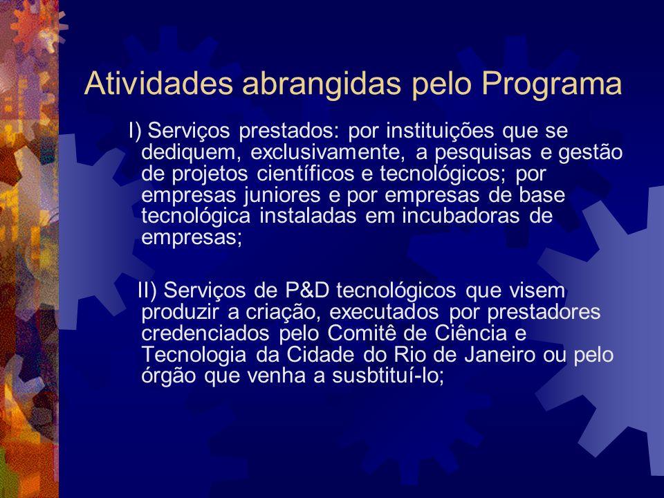 Atividades abrangidas pelo Programa I) Serviços prestados: por instituições que se dediquem, exclusivamente, a pesquisas e gestão de projetos científi