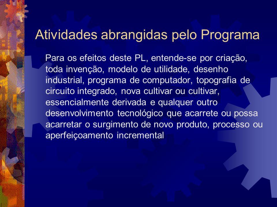 Atividades abrangidas pelo Programa Para os efeitos deste PL, entende-se por criação, toda invenção, modelo de utilidade, desenho industrial, programa