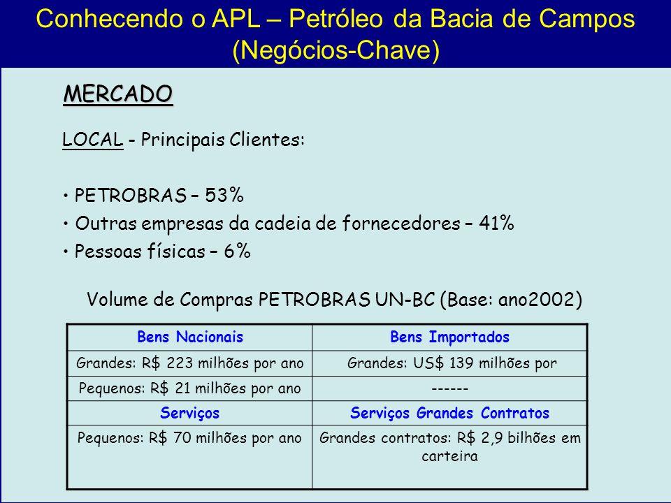 Conhecendo o APL – Petróleo da Bacia de Campos (Negócios-Chave) LOCAL - Principais Clientes: PETROBRAS – 53% Outras empresas da cadeia de fornecedores
