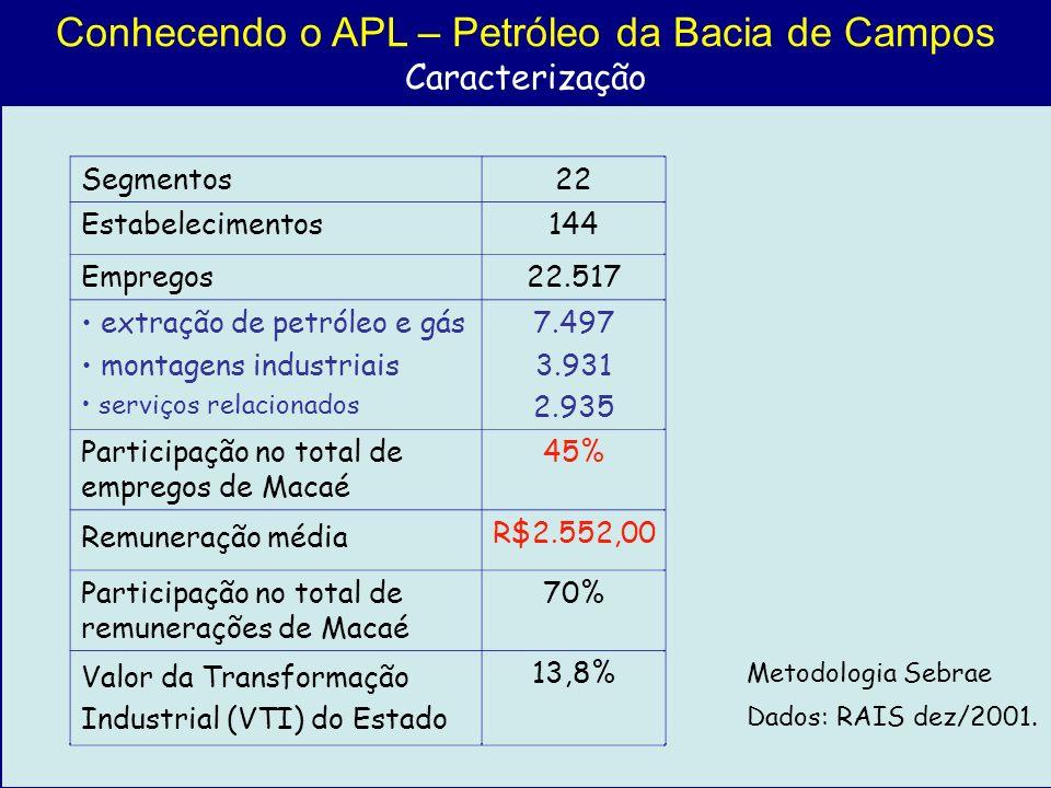 Conhecendo o APL – Petróleo da Bacia de Campos Caracterização Metodologia Sebrae Dados: RAIS dez/2001. Segmentos22 Estabelecimentos144 Empregos22.517