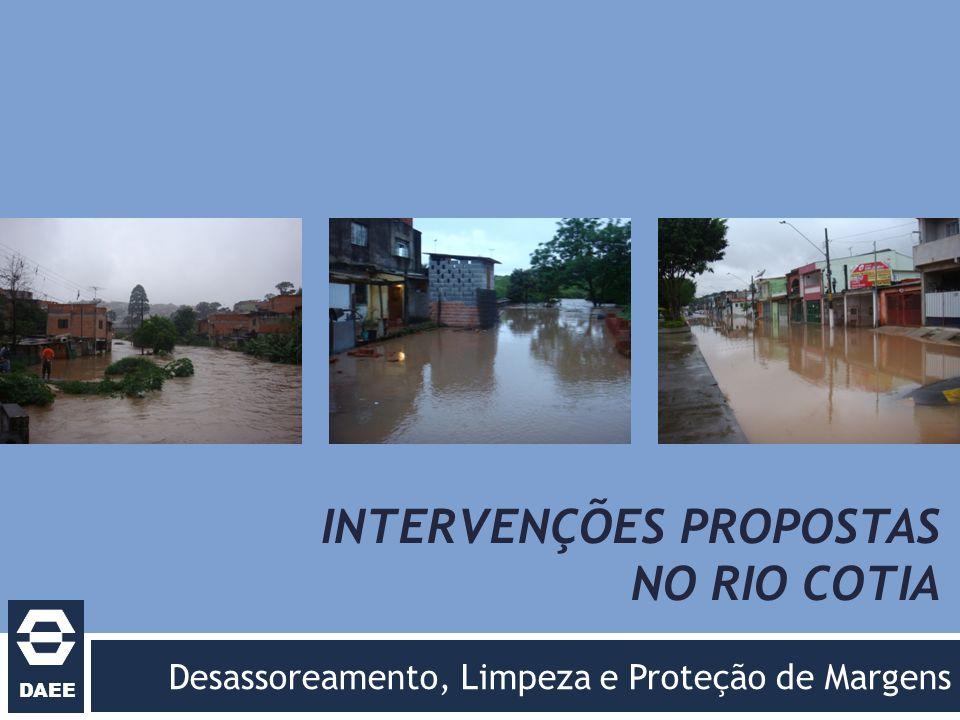 DAEE INTERVENÇÕES PROPOSTAS NO RIO COTIA Desassoreamento, Limpeza e Proteção de Margens