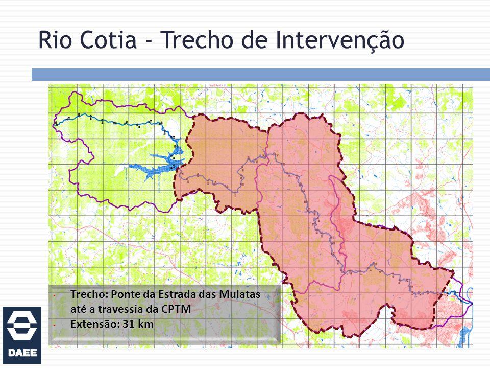 Rio Cotia - Trecho de Intervenção Trecho: Ponte da Estrada das Mulatas até a travessia da CPTM Trecho: Ponte da Estrada das Mulatas até a travessia da CPTM Extensão: 31 km Extensão: 31 km