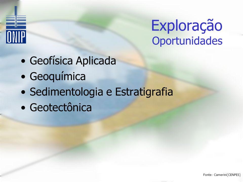 Exploração Oportunidades Geofísica Aplicada Geoquímica Sedimentologia e Estratigrafia Geotectônica Fonte: Camerini(CENPES)