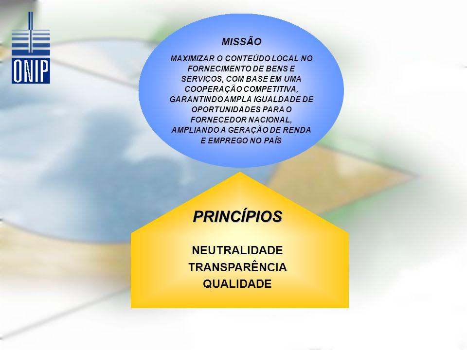 MISSÃO MAXIMIZAR O CONTEÚDO LOCAL NO FORNECIMENTO DE BENS E SERVIÇOS, COM BASE EM UMA COOPERAÇÃO COMPETITIVA, GARANTINDO AMPLA IGUALDADE DE OPORTUNIDADES PARA O FORNECEDOR NACIONAL, AMPLIANDO A GERAÇÃO DE RENDA E EMPREGO NO PAÍS PRINCÍPIOS NEUTRALIDADE TRANSPARÊNCIA QUALIDADE