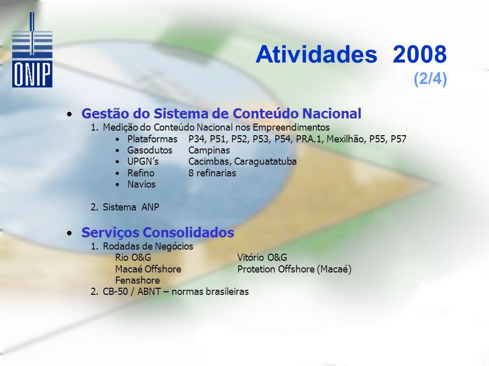 Atividades 2008 (2/4) Gestão do Sistema de Conteúdo Nacional 1.Medição do Conteúdo Nacional nos Empreendimentos PlataformasP34, P51, P52, P53, P54, PRA.1, Mexilhão, P55, P57 GasodutosCampinas UPGNsCacimbas, Caraguatatuba Refino8 refinarias Navios 2.Sistema ANP Serviços Consolidados 1.Rodadas de Negócios Rio O&GVitório O&G Macaé OffshoreProtetion Offshore (Macaé) Fenashore 2.CB-50 / ABNT – normas brasileiras