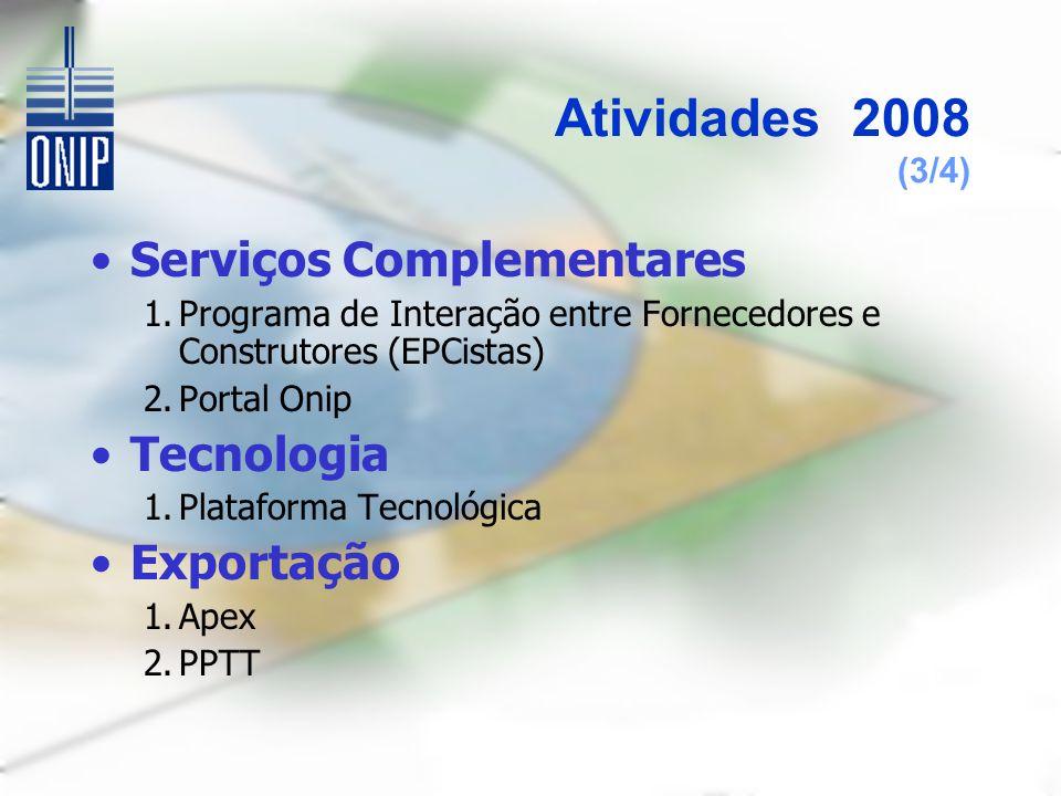 Atividades 2008 (3/4) Serviços Complementares 1.Programa de Interação entre Fornecedores e Construtores (EPCistas) 2.Portal Onip Tecnologia 1.Plataforma Tecnológica Exportação 1.Apex 2.PPTT