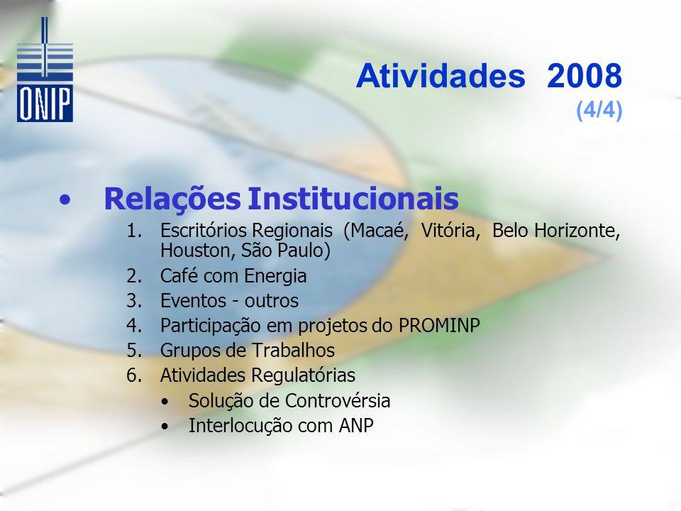 Atividades 2008 (4/4) Relações Institucionais 1.Escritórios Regionais (Macaé, Vitória, Belo Horizonte, Houston, São Paulo) 2.Café com Energia 3.Eventos - outros 4.Participação em projetos do PROMINP 5.Grupos de Trabalhos 6.Atividades Regulatórias Solução de Controvérsia Interlocução com ANP