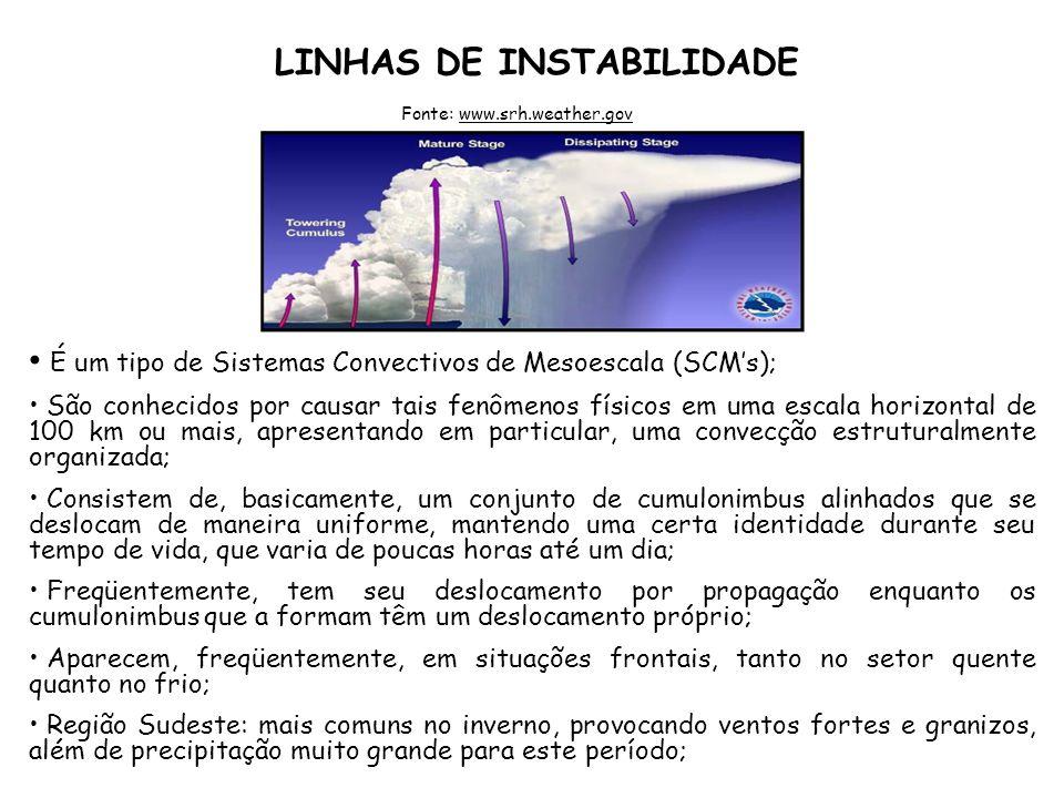 LINHAS DE INSTABILIDADE É um tipo de Sistemas Convectivos de Mesoescala (SCMs); São conhecidos por causar tais fenômenos físicos em uma escala horizon