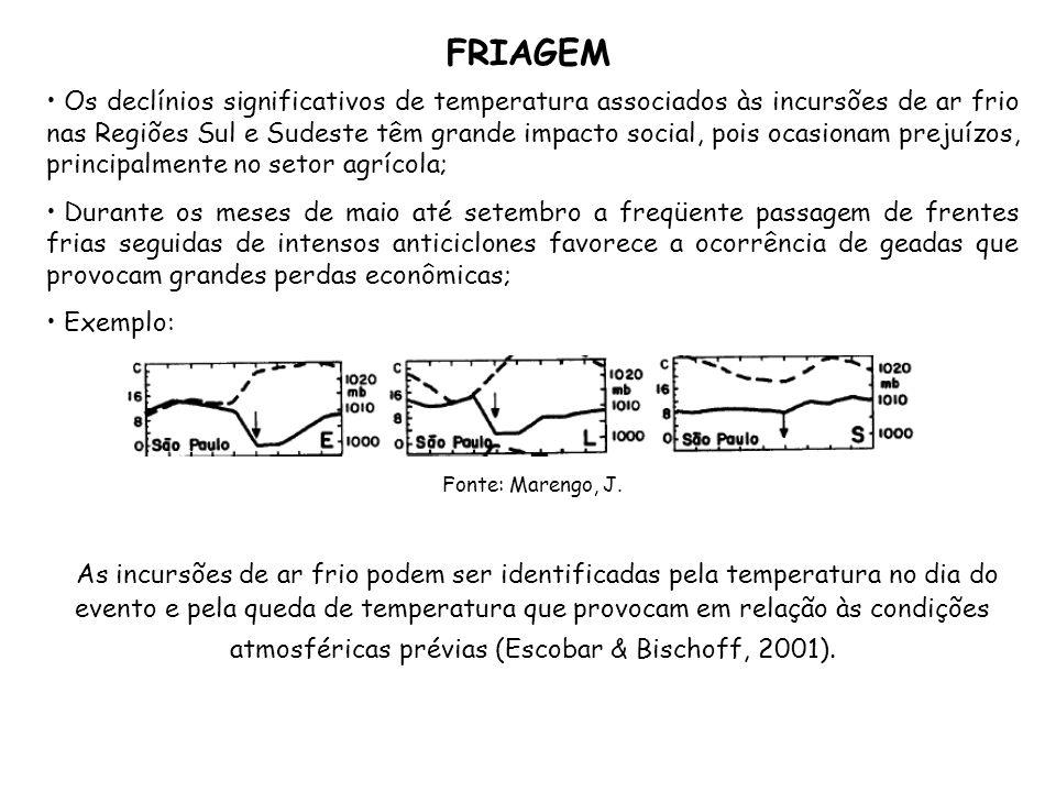 FRIAGEM Os declínios significativos de temperatura associados às incursões de ar frio nas Regiões Sul e Sudeste têm grande impacto social, pois ocasio
