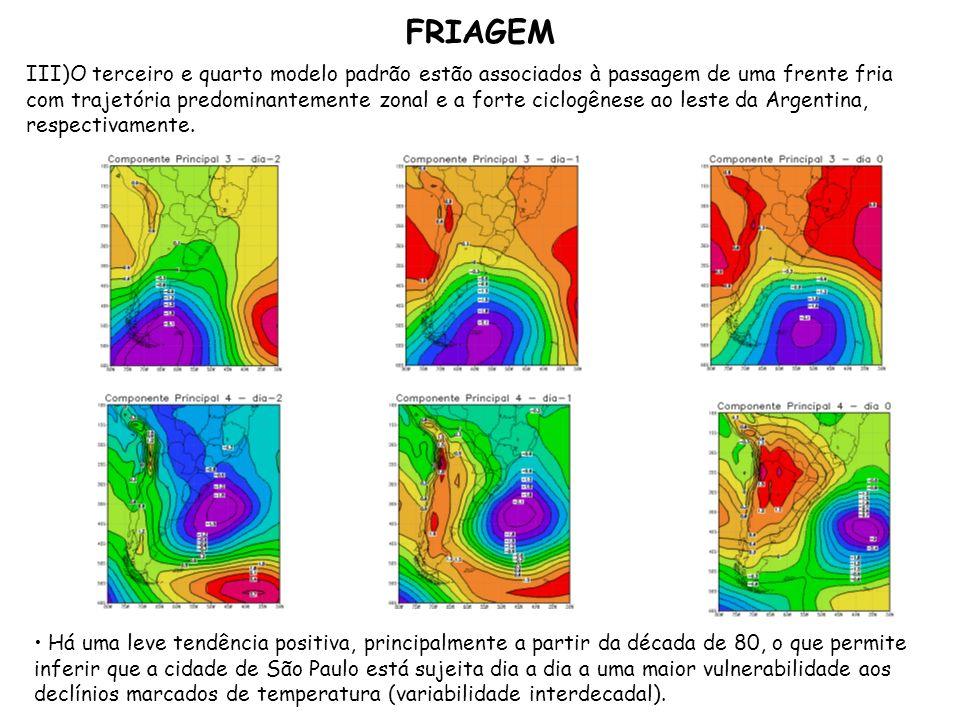 III)O terceiro e quarto modelo padrão estão associados à passagem de uma frente fria com trajetória predominantemente zonal e a forte ciclogênese ao l