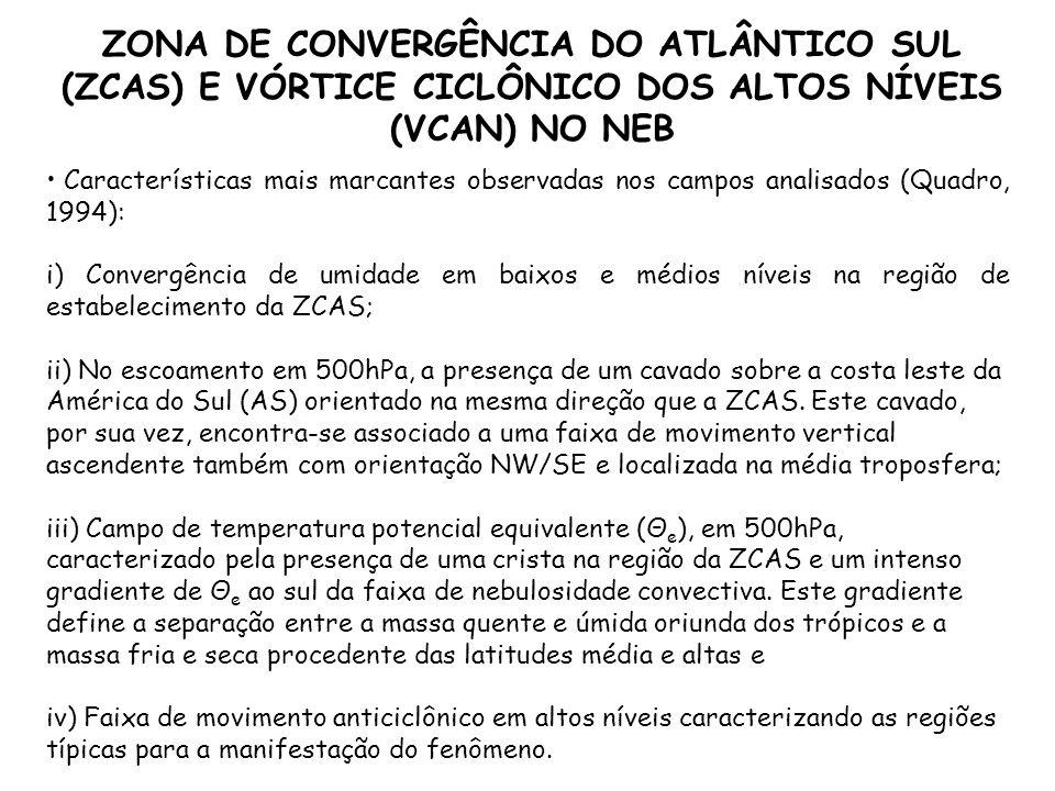 Características mais marcantes observadas nos campos analisados (Quadro, 1994): i) Convergência de umidade em baixos e médios níveis na região de esta