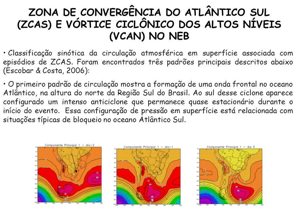 Classificação sinótica da circulação atmosférica em superfície associada com episódios de ZCAS. Foram encontrados três padrões principais descritos ab