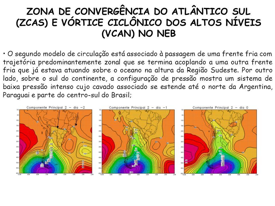 ZONA DE CONVERGÊNCIA DO ATLÂNTICO SUL (ZCAS) E VÓRTICE CICLÔNICO DOS ALTOS NÍVEIS (VCAN) NO NEB O segundo modelo de circulação está associado à passag