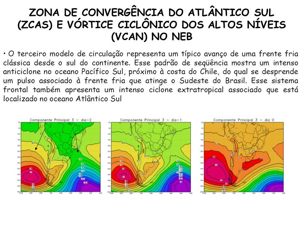 ZONA DE CONVERGÊNCIA DO ATLÂNTICO SUL (ZCAS) E VÓRTICE CICLÔNICO DOS ALTOS NÍVEIS (VCAN) NO NEB O terceiro modelo de circulação representa um típico a
