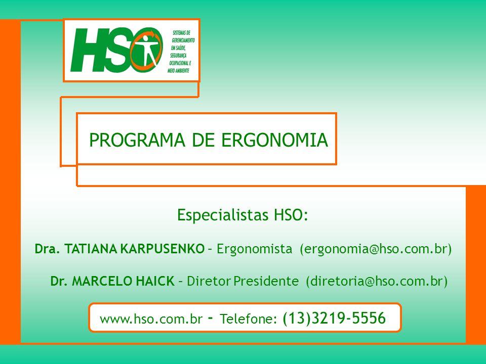 PROGRAMA DE ERGONOMIA Especialistas HSO: Dra. TATIANA KARPUSENKO – Ergonomista (ergonomia@hso.com.br) Dr. MARCELO HAICK – Diretor Presidente (diretori