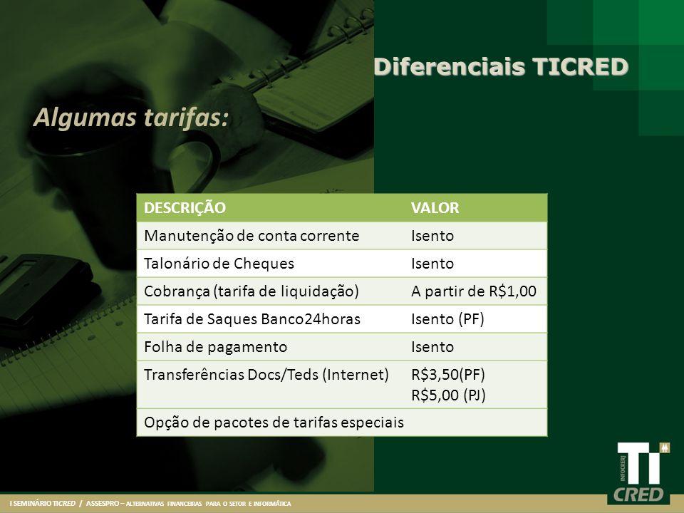 I SEMINÁRIO TICRED / ASSESPRO – ALTERNATIVAS FINANCEIRAS PARA O SETOR E INFORMÁTICA Algumas tarifas: DESCRIÇÃOVALOR Manutenção de conta correnteIsento