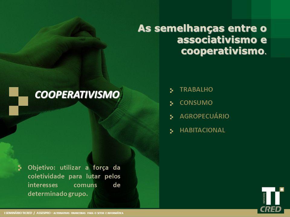 TRABALHO CONSUMO AGROPECUÁRIO HABITACIONAL As semelhanças entre o associativismo e cooperativismo. Objetivo: utilizar a força da coletividade para lut