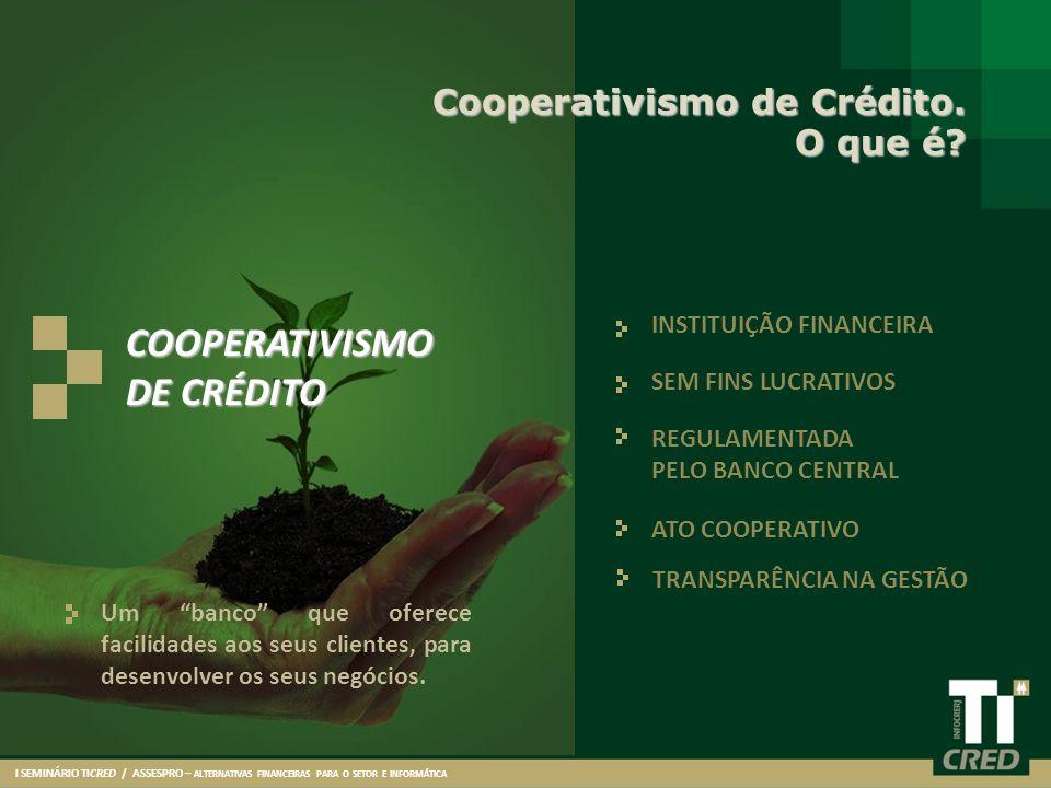 Um banco que oferece facilidades aos seus clientes, para desenvolver os seus negócios. Cooperativismo de Crédito. O que é? INSTITUIÇÃO FINANCEIRA SEM
