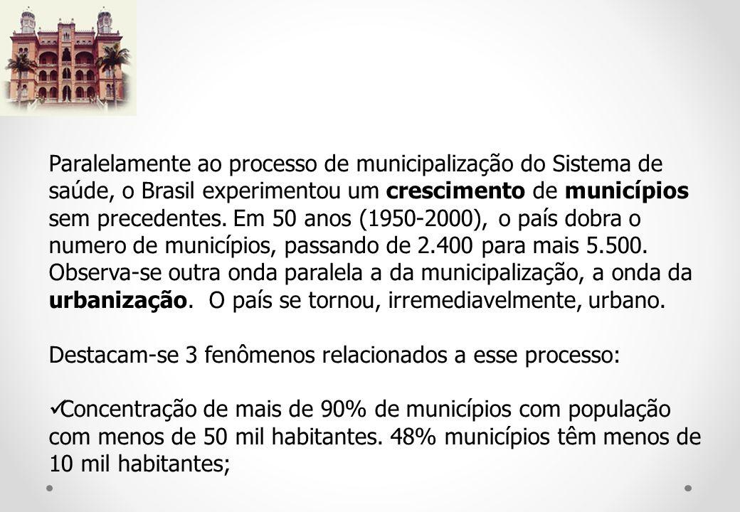 Paralelamente ao processo de municipalização do Sistema de saúde, o Brasil experimentou um crescimento de municípios sem precedentes.