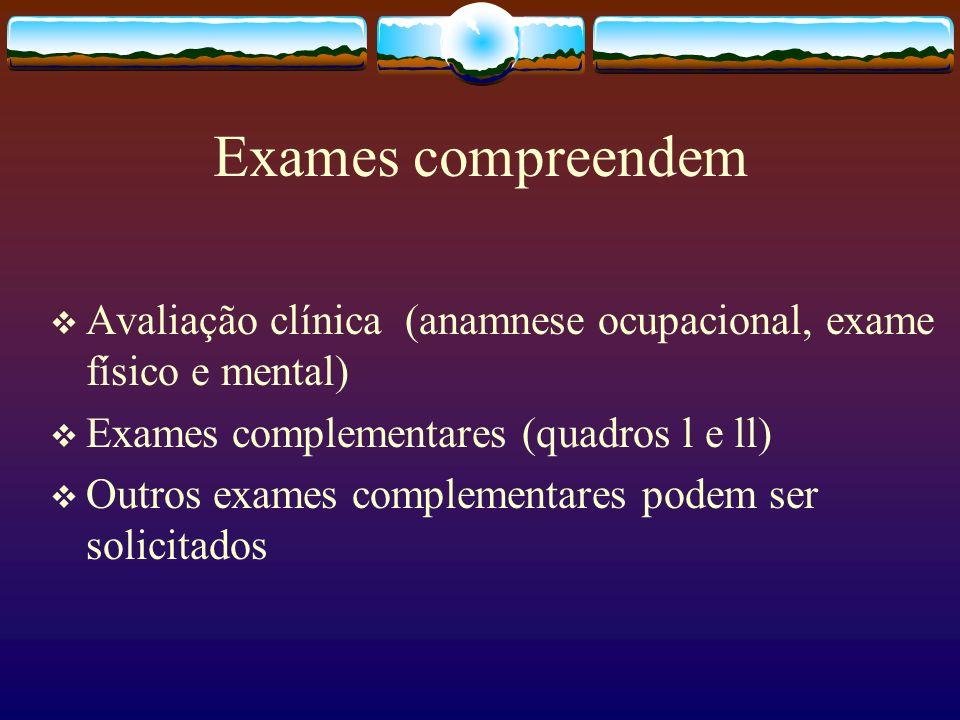 Exames compreendem Avaliação clínica (anamnese ocupacional, exame físico e mental) Exames complementares (quadros l e ll) Outros exames complementares