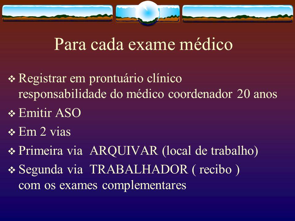 Para cada exame médico Registrar em prontuário clínico responsabilidade do médico coordenador 20 anos Emitir ASO Em 2 vias Primeira via ARQUIVAR (loca
