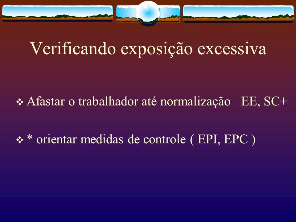 Verificando exposição excessiva Afastar o trabalhador até normalização EE, SC+ * orientar medidas de controle ( EPI, EPC )
