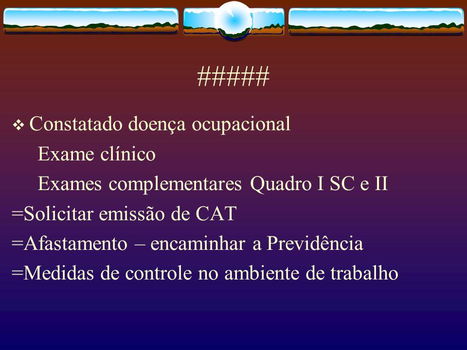 ##### Constatado doença ocupacional Exame clínico Exames complementares Quadro I SC e II =Solicitar emissão de CAT =Afastamento – encaminhar a Previdê