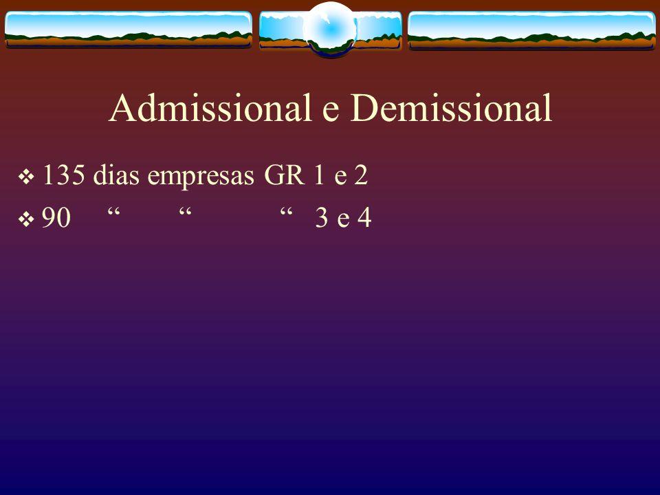 Admissional e Demissional 135 dias empresas GR 1 e 2 90 3 e 4