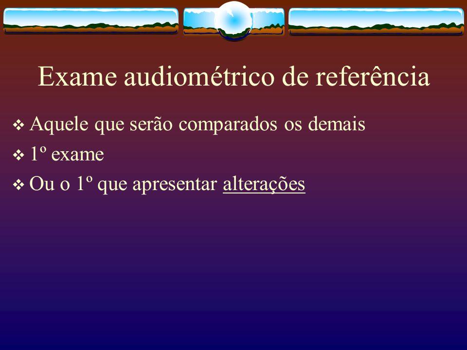 Exame audiométrico de referência Aquele que serão comparados os demais 1º exame Ou o 1º que apresentar alterações