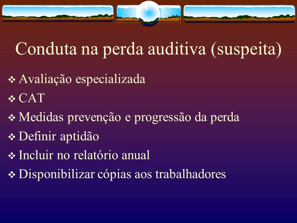 Conduta na perda auditiva (suspeita) Avaliação especializada CAT Medidas prevenção e progressão da perda Definir aptidão Incluir no relatório anual Di