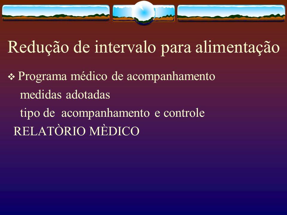 Redução de intervalo para alimentação Programa médico de acompanhamento medidas adotadas tipo de acompanhamento e controle RELATÒRIO MÈDICO