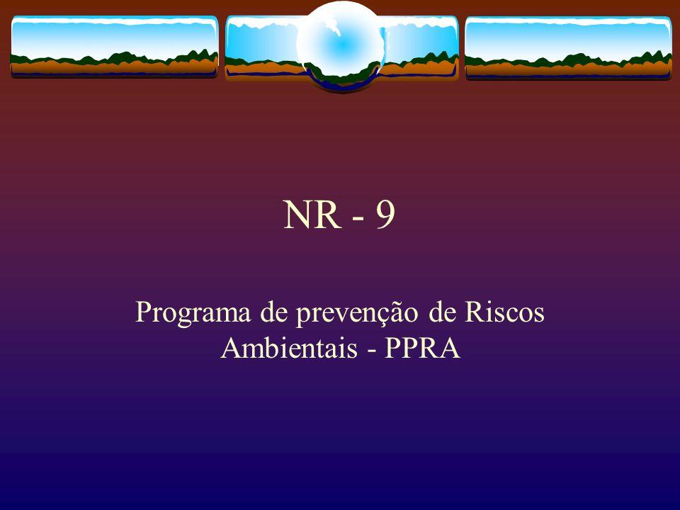 NR - 9 Programa de prevenção de Riscos Ambientais - PPRA