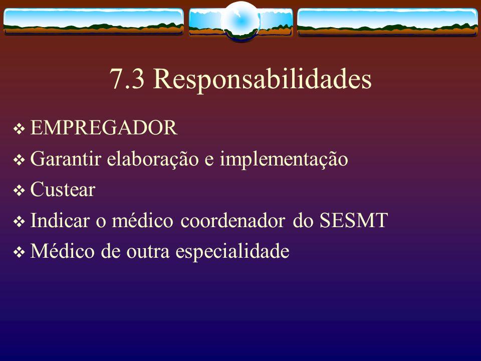 7.3 Responsabilidades EMPREGADOR Garantir elaboração e implementação Custear Indicar o médico coordenador do SESMT Médico de outra especialidade