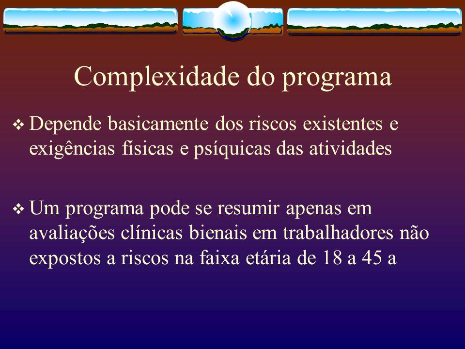 Complexidade do programa Depende basicamente dos riscos existentes e exigências físicas e psíquicas das atividades Um programa pode se resumir apenas
