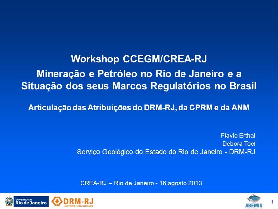 1 Workshop CCEGM/CREA-RJ Mineração e Petróleo no Rio de Janeiro e a Situação dos seus Marcos Regulatórios no Brasil Articulação das Atribuições do DRM