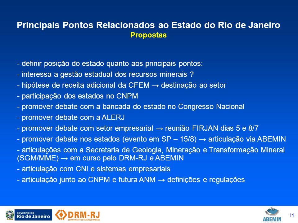 11 Principais Pontos Relacionados ao Estado do Rio de Janeiro Propostas - definir posição do estado quanto aos principais pontos: - interessa a gestão