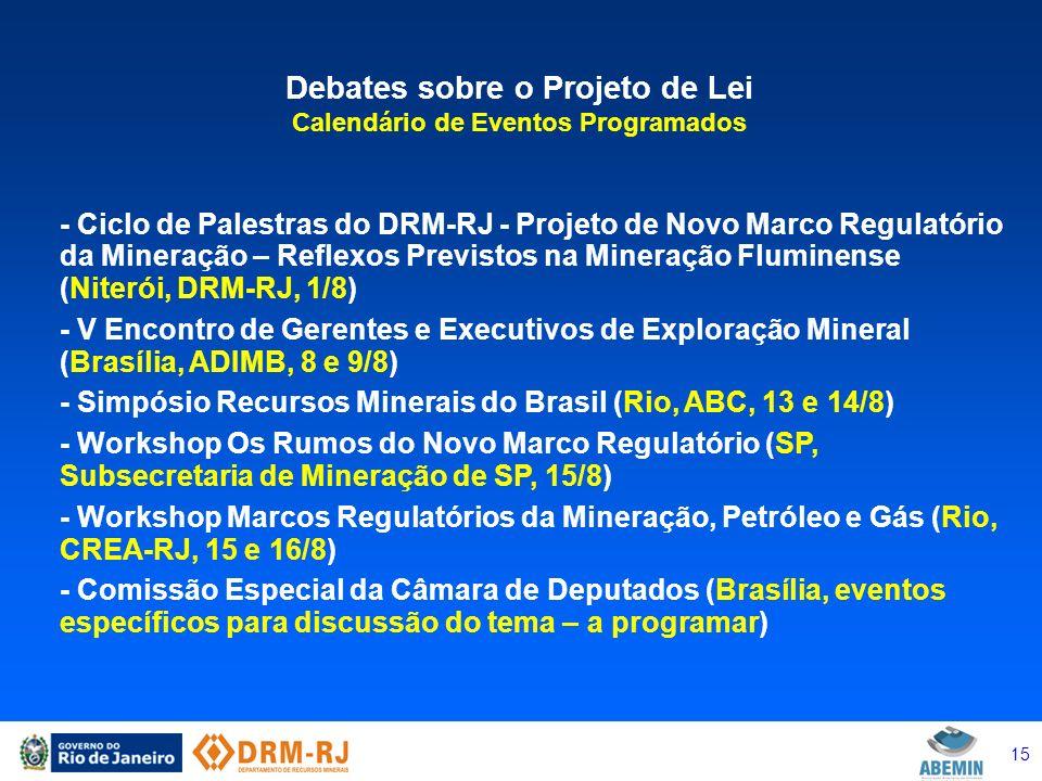 15 Debates sobre o Projeto de Lei Calendário de Eventos Programados - Ciclo de Palestras do DRM-RJ - Projeto de Novo Marco Regulatório da Mineração –