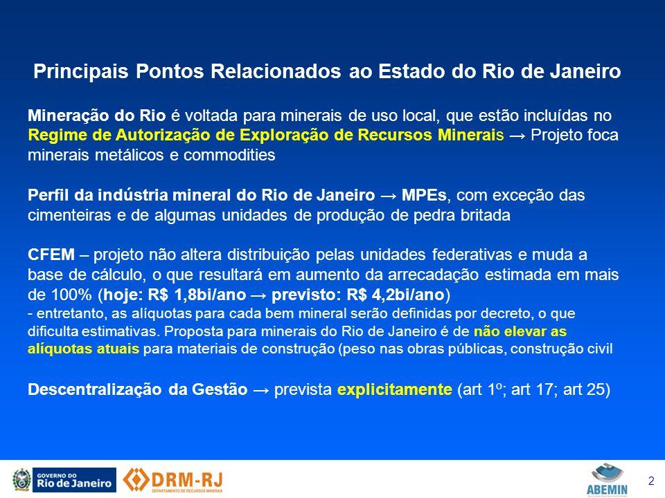 3 Principais Pontos Relacionados ao Estado do Rio de Janeiro Agência Nacional de Mineração - ANM - sucede ao DNPM – estrutura a ser definida - estrutura modelada na ANP - em tese, com foco nos minerais de abrangência nacional, estratégicos e commodities, submetidos ao Regime de Concessão - Regime de Concessão privativo da ANM - Regime de Autorização pode ser delegado aos entes federados, a partir de regras propostas ao poder concedente (CNPM/MME) - definirá modelo de descentralização - arrecada CFEM e Taxas de Fiscalização criadas em lei - função principalmente reguladora e fiscalizadora - lei define valores de cobrança de taxa anual de fiscalização
