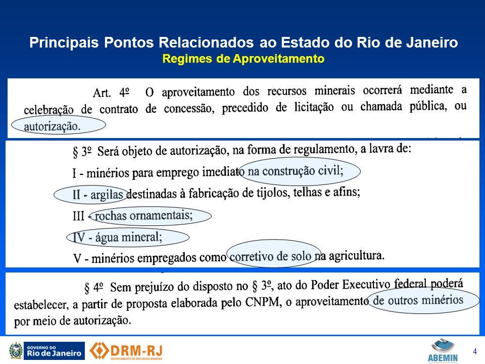 5 Principais Pontos Relacionados ao Estado do Rio de Janeiro Regimes de Aproveitamento – Relação com Municípios